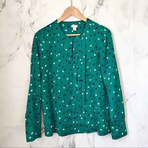 J. Crew factory green pleated blouse 2 top
